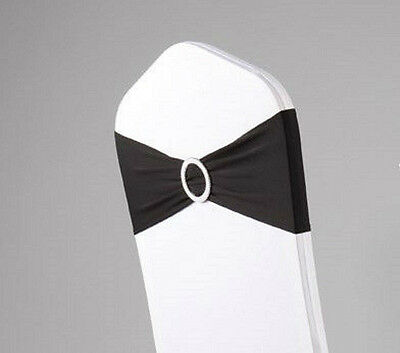 100 x Black Lycra Spandex Stretch Chair Cover Bands Sashes Silver Round Buckles