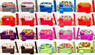 Childrens Foam Sofa Bed [ pillow and pouffs included ]  Convertible Sofa