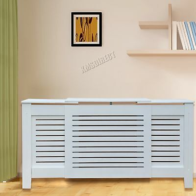 FoxHunter White Painted Radiator Cover Wall Cabinet Wood MDF Modern Adjustable