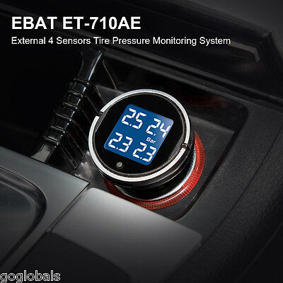 TPMS Wireless Car Auto Truck Tire Pressure Monitoring System + 4 External Sensor