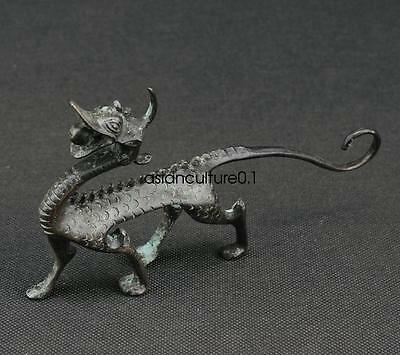 Rare COLLECTIBLES HANDWORK BRONZE CARVING DRAGON WONDERFUL STATUE LM883
