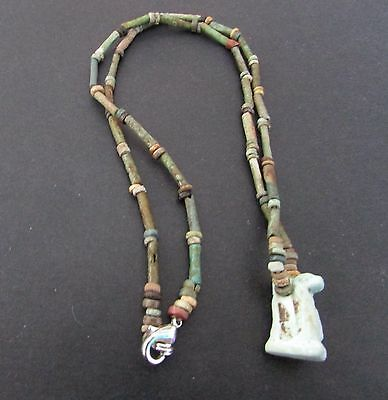 NILE  Ancient Egyptian Cobra Amulet Mummy Bead Necklace ca 1000