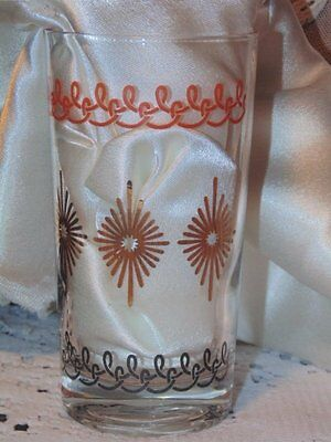 Swanky Swigs Glass Tumblers Orange and Brown Roping w/ Gold Suns Set of 5