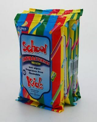 4 X 10's ICare School Kids Antibacterial Wet Wipes Flushable Mild Action