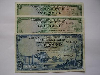 1959,61 & 64 National Commercial Bank of Scotland Ltd £1 notes (3)