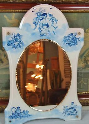 Fantastic Antique Italian Glass Mirror With Fairies / Cherubs / Angels 19th C