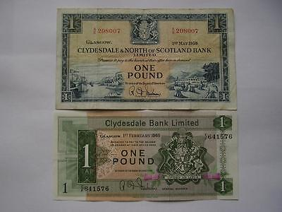 1958 Clydesdale & North of Scotland Bank Ltd plus Clydesdale Bank £1 Banknotes