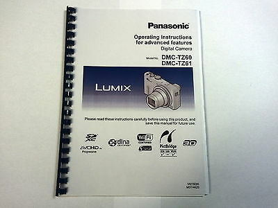 Panasonic Lumix Dmc-Tz60 Printed Instruction Manual User Guide 329 Pages A5