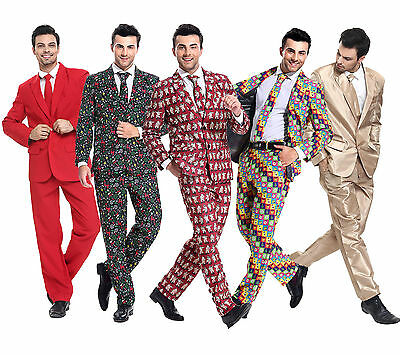 Mens Stand Out Stag Christmas Suits Xmas Party Funny Fancy Dress Costume Outfit