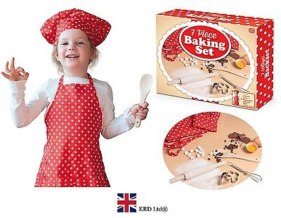 7Pc KIDS BAKING SET Apron Hat Utensil Kit Christmas Gift Stocking Filler Toy Box
