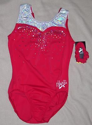 Nwt Gk Sleeveless Red Lycra Gymnastic Leotard Am 111716E +Scrunchie