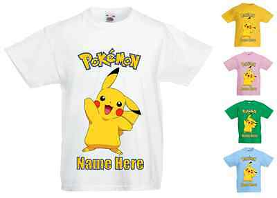Childrens Kids Personalised Printed T-Shirt Various Colours - Pokemon Pikachu