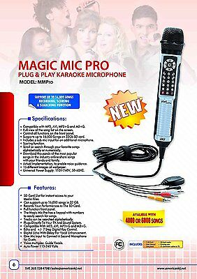 Karaoke Microphone Magic Mic Pro with 4000 Spanish songs, microphone