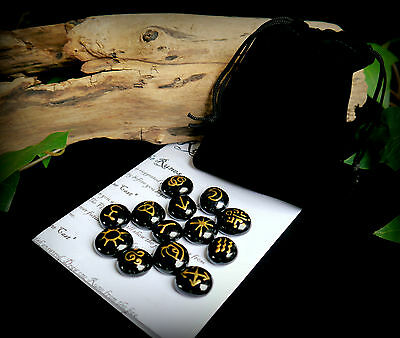 13 WITCHES RUNES & BAG Black and Gold  Witch Wicca Pagan Divination Gift