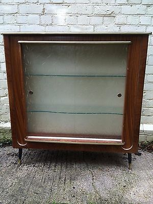 Mid Century 1960s Cocktail Cabinet Drinks Kitsch Dansette Legs Glass Doors