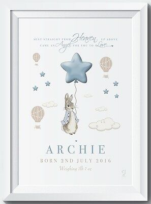 Personalised Peter Rabbit name print baby gift christening picture nursery birth