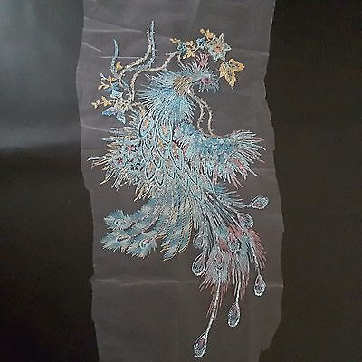 Peacock Gold Sequin Feathers XXL Bird Embroidery Phoenix Dress Patch Applique