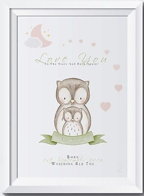Personalised baby owl name print christening gift Love you to the stars birth
