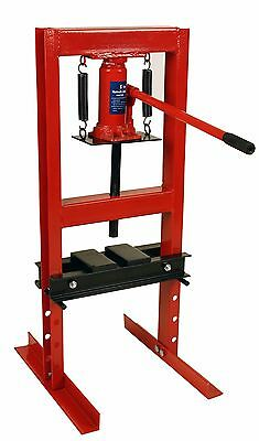 Dragway Tools 6-Ton Hydraulic Shop Floor Press with Press Plates and H Frame