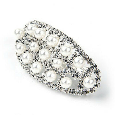5X(63X29mm hair clip barrette pearl silver plating) FT