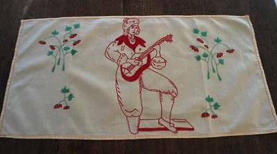 Vintage Yellow Embroidered Table Runner Redwork Italian Musician Strawberries