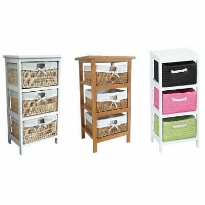 Maize Storage Unit 3 Drawer White Brown Multi-Coloured Basket Drawers Container