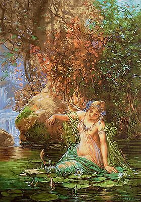 """Gobelin Tapestry Needlepoint Kit """"Nymph"""" hand embroidery printed canvas 464"""