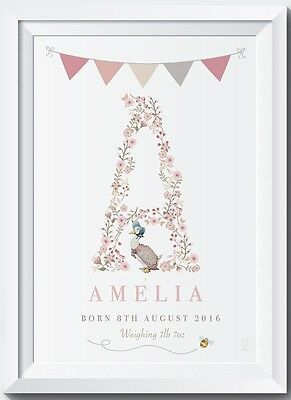 Personalised Baby Peter Rabbit Name Birth Nursery Christening Gift Picture Print