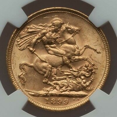 1899-M Victoria Gold Sovereign Veiled Head NGC KM13 Melbourne Mint Brilliant