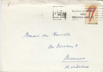 G 282 Australia 25c Olympic diver solo use 1976 cover to Netherlands.