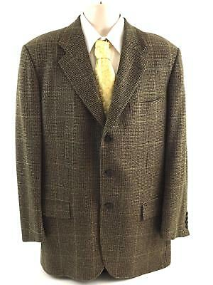 Men's KITON Bergdorf Goodman 100% Cashmere Brown Plaid Sport Coat Jacket 42R