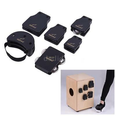 GECKO Cajon Box Drum Companions Set Castanets Jingle Bells Foot Tambourine F7L6