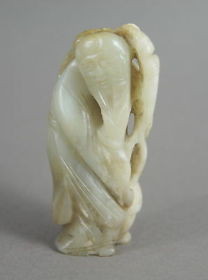 Fine Antique Ming / Qing Chinese Carved Celadon Jade Figure Immortal / Shou Lao