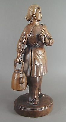 Fine Old Chinese Carved Wooden Cultural Revolution Figure Of A Lady W/ Glass Eye