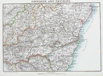 OLD ANTIQUE MAP SCOTLAND ABERDEEN ENVIRONS c1900 by JOHNSTON / CASSELL