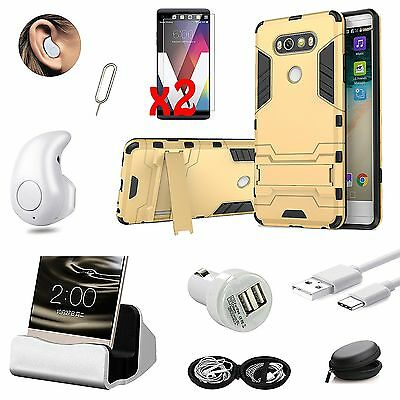For LG V20 Bundle Kickstand Case Cover Dock Charger Wireless Earphones Gold
