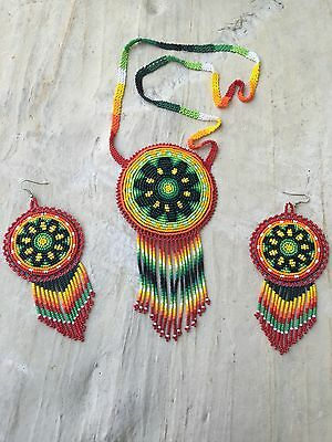 Huichol Beaded Medallion Necklace Set With Earrings