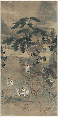 Chinese antique painting on silk Figure Nine scholars in the fragrant mountain