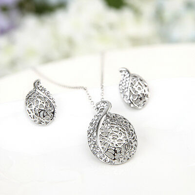 Crystal Lady Silver Necklace Pendant Earring Birthday Party Jewelry Set