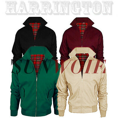 Mens Harrington Jacket Coat 1970's Vintage Bomber Mod Classic Retro Scooter UK