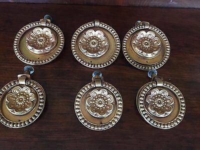 Six Antique brass bronze round Rosette Drawer Pulls Restoration Handles