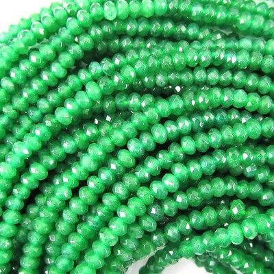 "3mm faceted jade rondelle beads 7.25"" strand green"