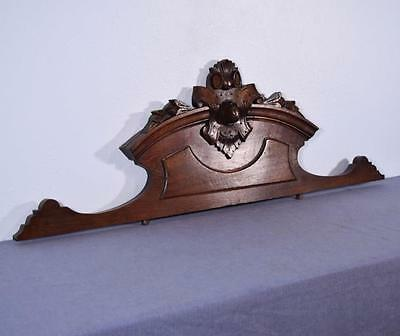 "*41"" French Antique Pediment Architectural Crown Solid Oak Wood Crest"