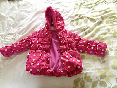 TU Girls 3-4 year olds kids coat pink Fleece lined winter jacket.