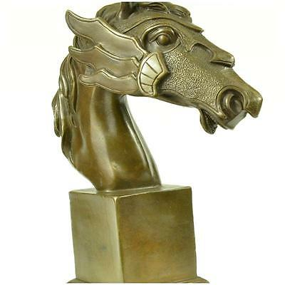 Beautiful Pure Bronze Mounted Horse Statue Bust Art Deco Marble Base Sculpture E