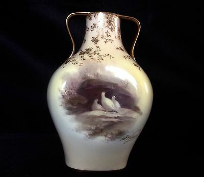Doulton Burslem Hand Painted Dove Bird Vase Signed By Artist S. Wilson
