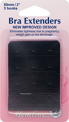 Bra Back Extender With 4 rows and 3 Hooks BLACK 50mm. No Sewing Clip on Extender