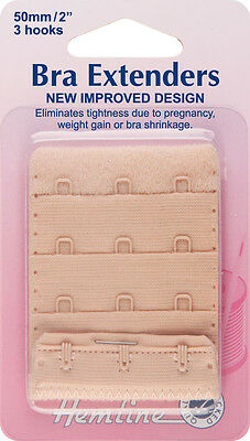 Bra Back Extender With 4 rows and 3 Hooks NUDE 50mm. No Sewing Clip on Extender