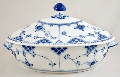 Royal Copenhagen Blue Fluted Half Lace Vegetable Tureen/dish 622 1St Pre-1923