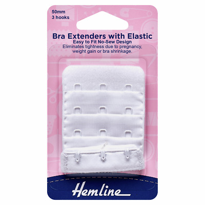 Bra Back Extender With 4 rows and 3 Hooks WHITE 50mm. No Sewing Clip on Extender